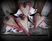 Primitive Handmade Valentine Heart Ornies / T Folk Art Heart Bowl Fillers Decor