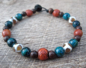 Mens buddha bracelet, chrysocolla, etched agate dzi, bodhi seed and tagua nut beads, earthy colors, on strong cord, toggle and loop clasp