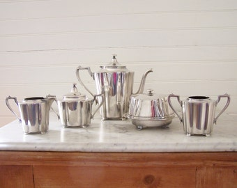 1930s SILVERPLATED COFFEE SET - Homan Mfg. Co. - Made in United States - Coffee Pot, Sugar Bowl, Creamer, Covered Butter Dish & Open Bowl