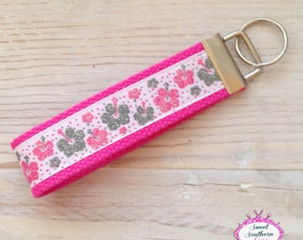 Pink and Gray Key Chain - Key Fob
