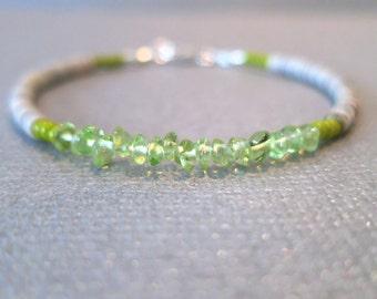 "Peridot and Shell Beads, ""Lime Dust"" Women's Beaded Bracelet"