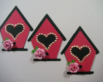 3 Sweet bird houses, Scrapbook Embellishment, Card Topper
