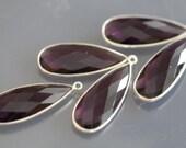 Amethyst Purple Quartz Faceted Pear Bezel Gemstone Sterling Silver Pendant, 34 x 13 mm   GM2228FLP/34/SP