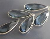 London Blue Quartz Faceted Pear Bezel Gemstone Sterling Silver Pendant, 34 x 13 mm GM2216FLP/34/SP