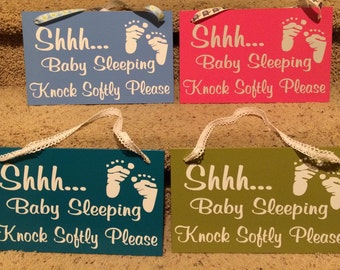 Shhh Baby Sleeping Knock Softly Please Door Sign