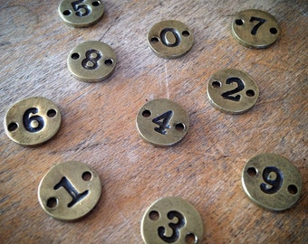 10 Pcs Number Charms 0-9, 10mm Charm Numbers, Antique Bronze (D037-D046)