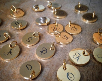 Alphabet GOLD Plated STAINLESS  Steel, 15mm Round Disc Charm Charms Script Monogram Letter Letters A-Z
