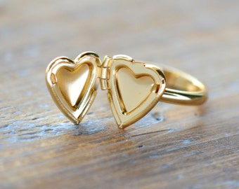 Heart Locket Ring in 24K Gold Plating GOLD Heart Picture locket Ring (I025)
