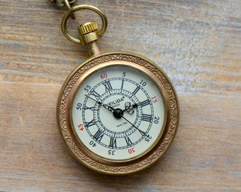 Pocket Watch Necklace, Wind Up Gears, Convex GLASS Window, Brass Casing, WORKING Wind-up Gears (BB013)