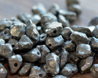 20 - Mini Natural Pyrite Beads Charm Gemstone Small Fools Gold Bead Jewelry Supplies (S035)