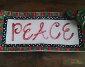 75% OFF!! Peace Christmas Side Plate, Christmas Holly, Hand Painted, Support Adoption, Wavy Plate, Side Dish