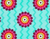 Windham Fabrics - Mosaica - Flowers and Chevron Stripes - Turquoise - French Bull - Choose Your Cut 1/2 or Full Yard