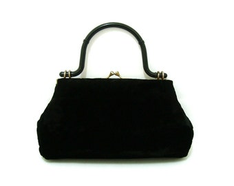 Vintage 1950s Black Velvet Handbag Vtg Kisslock Purse 50s Bag