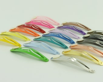 100 Blank BARRETTE Snap Clips w/ Glue Pads CHOOSE COLOR (Tear Drop Shape) 50 mm/2 inches