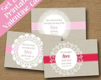 Doily Valentines | God's Love Valentines | Scripture, Bible Verse Valentine Cards | DIY PRINTABLE | SET of 3 Designs | Instant Download