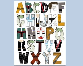 Star Wars Alphabet poster 16x20 and letter pack- Digital File