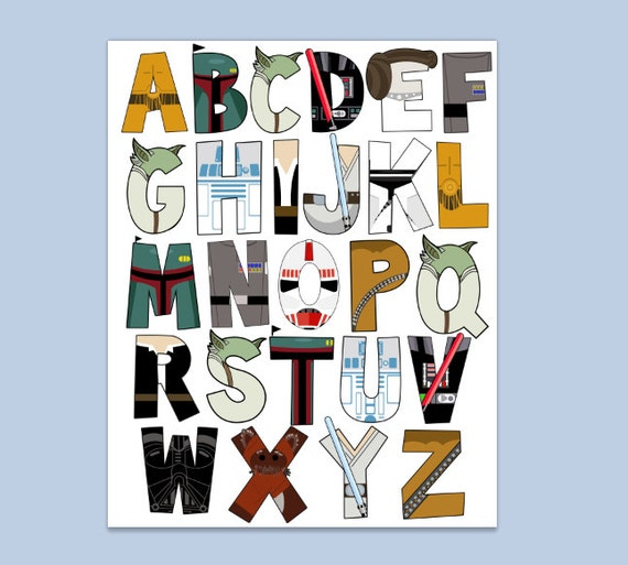 star wars letters items similar to wars alphabet poster 16x20 and 24972