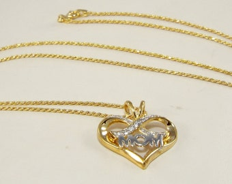 MOM Heart Necklace 18k Yellow Gold Over 925,Mothers Day 18k Heart Necklace, LOVE Heart Necklace,Mom 18K 925 Gift Necklace, Yellow Gold Heart