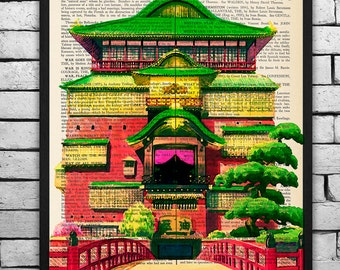 Spirited Away Bathhouse Original Print on an Antique Upcycled Bookpage