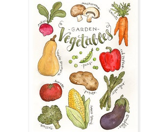 Watercolor Vegetable Print 11x14