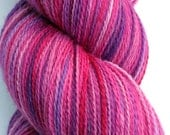 """Kettle Dyed Lace Yarn, Merino, Silk, and Stellina Lace Weight, in """"Love Me Do"""""""