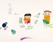 2 children doing Origami