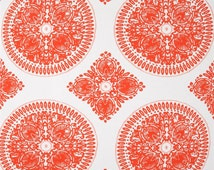 Coral Pink, Orange and White Medallion Curtain Panels / Custom Drapery / Ty Pennington designer fabric