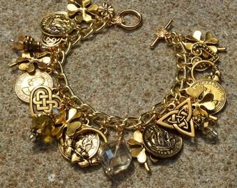 IRISH GOLD REVISTED Gold Irish Celtic Ireland Charm Bracelet