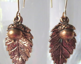 Rosy Copper Tanoak Leaf and Acorn Earrings with Long Earwires