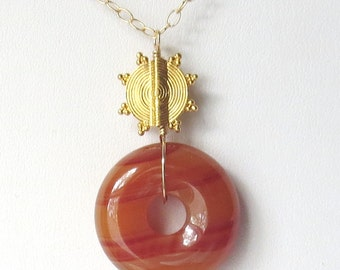 Carnelian Donut and Gold Sunburst Necklace