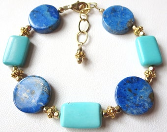 Genuine Turquoise and Lapis Bracelet with Gold