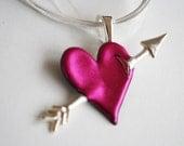 Cupid's Arrow Friendly Plastic Heart Necklace