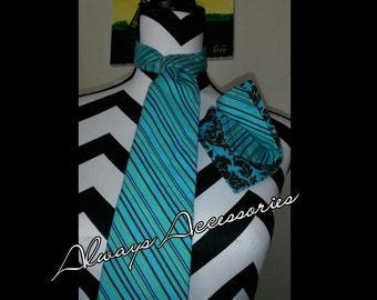Turquoise Stripe Tie Set