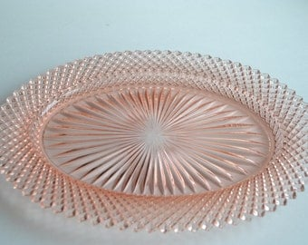 Miss America  Depression Glass Oval plate, Tray, platter, CHIPPED on one point  c. 1935-1938
