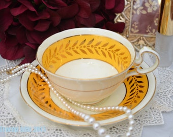 Aynsley Yellow and Gold Teacup and Saucer Set, English Teacup, Wedding Gift, c. 1934-1939