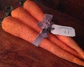 BIG primitive Carrots~ set of three~ primitive kitchen decor~ Spring Summer Vegetables~ Easter Carrots~ large primitive carrots
