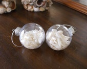 Christmas ornament, 2 white seashell ornaments beach coastal Christmas
