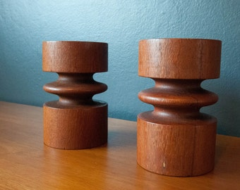 Mid Century Teak Candle Holders