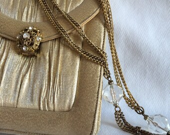 Vintage Lou Taylor Gold Formal Purse Flip Up Double Sided Mirror in Purse Small Gold Vintage Purse