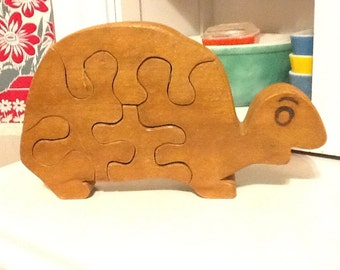Handmade Vintage Wooden Turtle Puzzle