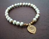 Women's Shiva Crown Chakra Mala Bracelet // Mint Green Pearl Mala Bracelet // Yoga, Jewelry, Meditation, Prayer Beads