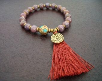 Women's Lepidolite Tassel Mala Bracelet - Third Eye Chakra Mala Bracelet - Yoga, Buddhist, Meditation, Prayer Beads, Jewelry