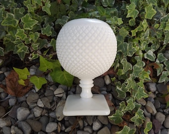 Westmoreland Milk Glass Ivy Ball Vase, Round White Hobnail, Wedding Decor Westmoreland Art Glass, Home Decor, Circa 1960