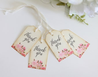 Vintage Floral Thank You Tags, Wedding Thank You Tags, Pink Florals, Shabby Chic, Gift Tags, Favor Tags