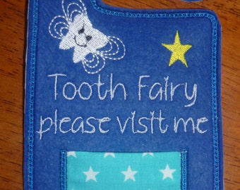 personalised boys blue tooth fairy hanger