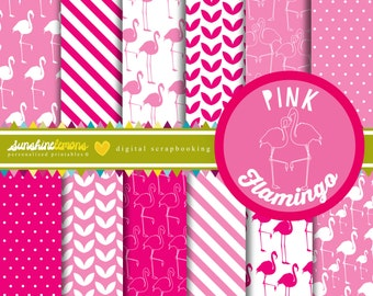 Pink Flamingo Digital Paper Pack - Set of 12 Paper - COMMERCIAL USE Read Terms Below