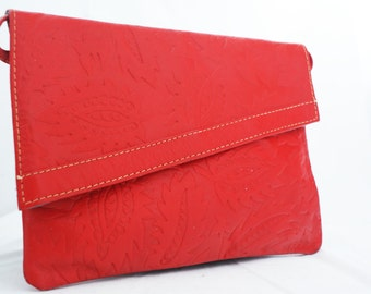 Purse- Red Leather Paisley Raised Embossed with Shoulder Strap