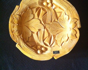 Hein Vintage German Hand Carved Wood Decorative Plate Wall Hanging