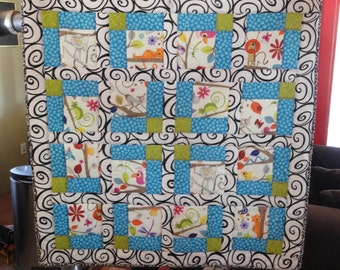 Handmade Patchwork Ugly Monkey Baby Quilt, Black and White accents add POW, Flannel Chevron backing adds Extra Warmth