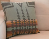 Tribal pillow, fabric from Pendleton Oregon, colors of the earth, sage, tan, gold, cream, 18 x 18